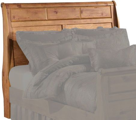 Ashley B219-65 Bittersweet Series RTA Queen Sleigh Headboard, Replicated rustic pine grain, Vine decorative inserts, Raised panels, Dimensions 62.68