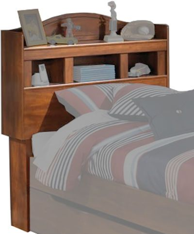 Ashley B228-63 Barchan Series Twin Bookcase Headboard, Replicated warm brown Timber Cherry grain, B100-11, B100-12 roll slats can be used in substitution for a box spring on the twin or full panel beds, Dimensions 44.49