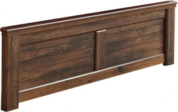 Ashley B246-56 Quinden Series King Panel Footboard, Warm dark brown vintage finish over replicated oak grain and authentic touch, Large scaled rustic contemporary bedroom collection features case pilasters, Dimensions 79.92
