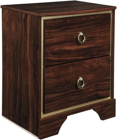 Ashley B247-92 Lenmara Series Two Drawer Night Stand, Deep dark red finish with replicated mahogany grain, Accented in a gold color trim for a sophisticated contemporary look, Large gold colored ring pulls accents with the faux crystals dress the front of the cases, Side roller glides for smooth operating drawers, Slim USB charger located on the back of the night stand tops, Dimensions 22.24
