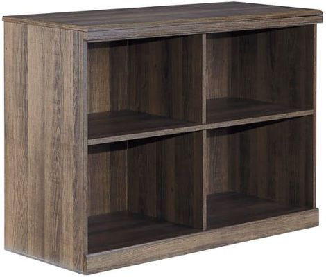 Ashley B251-17 Juararo Series Loft Bookcase, Vintage aged brown rough sawn finish over replicated oak grain, Dimensions 38.07