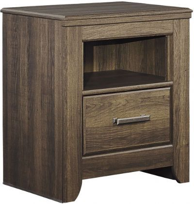 Ashley B251-91 Juararo Series One Drawer Night Stand, Vintage aged brown rough sawn finish over replicated oak grain, Dimensions 24.21