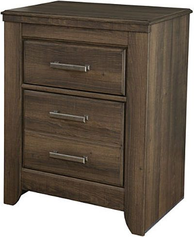 Ashley B251-92 Juararo Series One Drawer Night Stand, Vintage aged brown rough sawn finish over replicated oak grain, Substantial warm pewter color drawer handles, Side roller glides fro smooth operating drawers, Dimensions 24.21