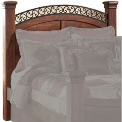Ashley B258-77 Timberline Series Queen Poster Headboard Panel, Replicated warm brown Timber Cherry grain, Dimensions 53.74