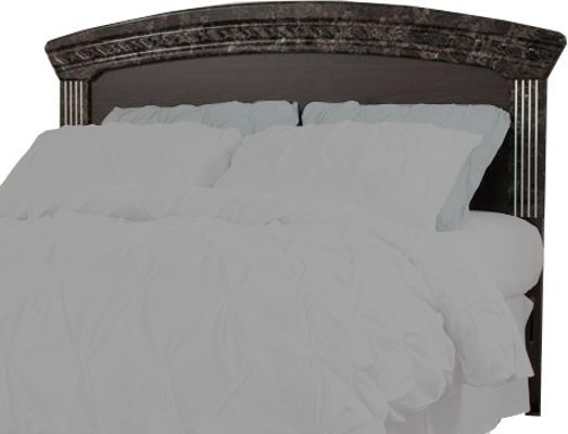 Ashley B264-57 Vachel Series Queen/Full Panel Headboard, Dark brown finish with replicated oak grain, Glossy faux marble tops and pilasters accented with satin nickel color flutes, Headboard can attach to bolt-on metal bed frame model B100-31, Dimensions 68.07