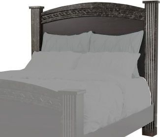 Ashley B264-61 Vachel Series F/Q/K Poster Headboard Posts, Dark brown finish with replicated oak grain, Glossy faux marble tops and pilasters accented with satin nickel color flutes, Headboard can attach to bolt-on metal bed frame model B100-31, Dimensions 6.22