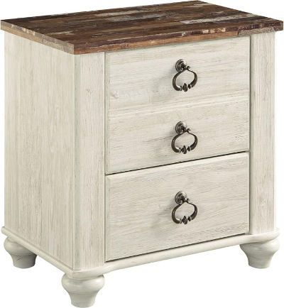Ashley B267-92 Willowton Series Two Drawer Night Stand; Two-tone finish in white wash replicated worn through paint with authentic touch and a replicated wood grained block pattern with authentic touch; Features bun feet; Ring pull hardware in an antique brass color, accented with white paint hang up; UPC 024052341409; (ASHLEY B267 92 ASHLEY B26792 ASHLEYB267 92 ASHLEY-B267-92 ASHLEY-B26792 ASHLEYB267-92 B267-92 B267 92)