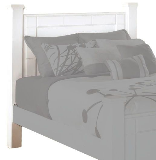 Ashley B270-67 Weeki Series Queen Poster Headboard Panel, Modern white finish, Blocky details, Wide segmented frame around the headboard, Dimensions 53.31