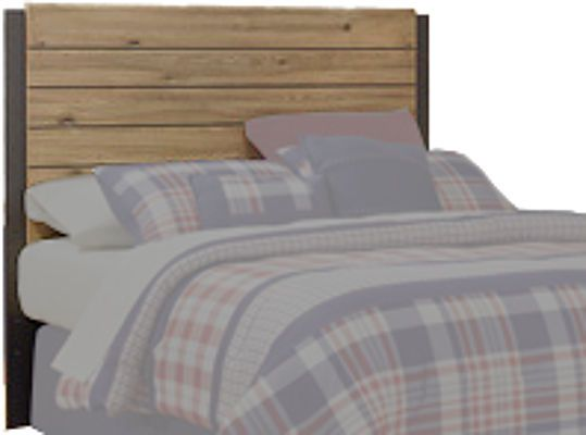 Ashley B298-87 Dexifield Series Full Panel Headboard, Dry brown rustic finish with replicated elm grain complimented with dark bronze color metal accents, B100-12 roll slat can be used in substitution for a box spring on the full panel beds, Dimensions 56.10
