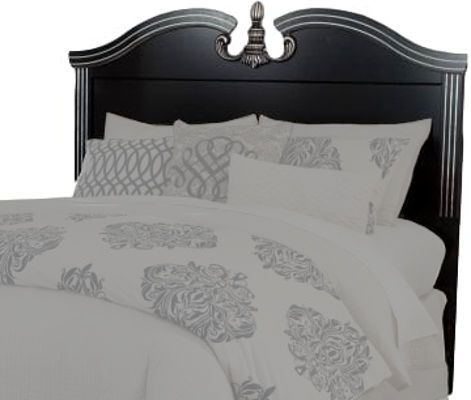 Ashley B301-57 Navoni Series Queen/Full Panel Headboard, Replicated black paint, Glossy black faux marble tops, Headboard legs have four height options for optimal relationship to bedding height, Dimensions 64.92