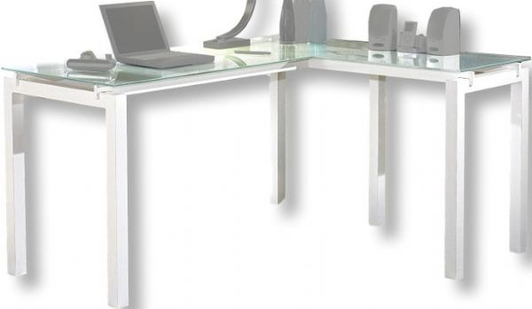 Ashley H410 24 Baraga Series L Desk Base Made With Welded Metal In A White Powder Coat Finish Tempered Frosted Glass Top Polished Edges