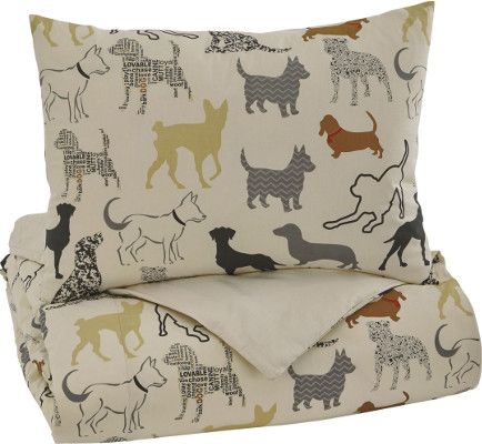 Ashley Q731001T Howley Series Twin Duvet Cover Set, Available in Multicolor Dog Design Pattern, Dimensions 69.00
