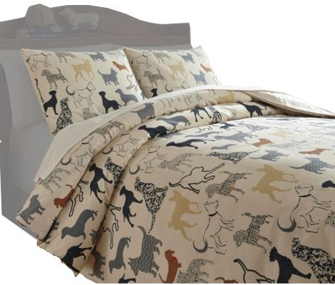 Ashley Q731003F Howley Series Full Duvet Cover Set, Available in Multicolor Dog Design Pattern, Dimensions 84.00