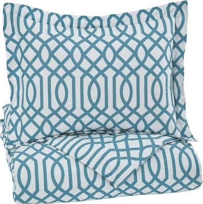 Ashley Q758031T Loomis Series Twin Comforter Set, 2 Piece Comforter Set that Includes Comforter and 1 Sham, Geometric Design in Aqua, Cotton, Filled with Polyester, 200 Thread Count, Machine Washable, Dimensions 69.00