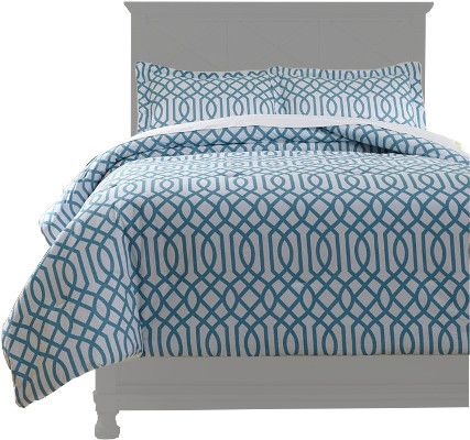 Ashley Q758033F Loomis Series Full Comforter Set, 3 Piece Comforter Set that Includes Comforter and 2 Shams, Geometric Design in Aqua, Cotton, Filled with Polyester, 200 Thread Count, Machine Washable, Dimensions 84.00