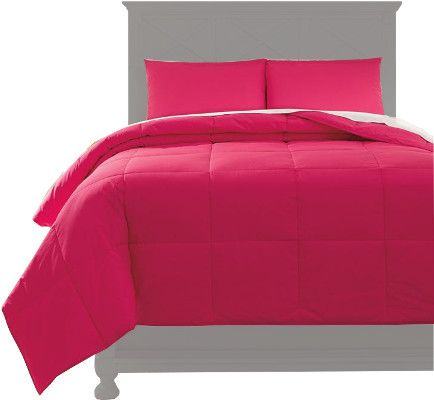 Ashley Q759033F Plainfield Series Full Comforter Set, 3 Piece Comforter Set that Includes Comforter and 2 Shams, Solid in Magenta, Cotton, Filled with Polyester, 230 Thread Count, Machine Washable, Dimensions 84.00