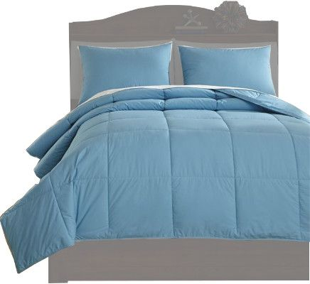 Ashley Q759053F Plainfield Series Full Comforter Set, 3 Piece Comforter Set that Includes Comforter and 2 Shams, Solid in Aqua, Cotton, Filled with Polyester, 230 Thread Count, Machine Washable, Dimensions 84.00