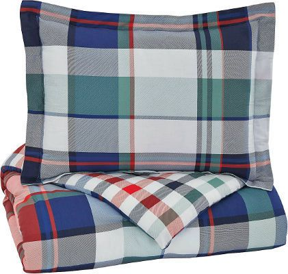 Ashley Q773003F Mannan Series 3-Piece Full Comforter Set, Plaid; Includes Comforter and 2 Shams; Plaid Design in Navy, Green, Red, and White; 200 Thread Count; Cotton with Polyester Filling; Machine Washable; Dimensions 84.00