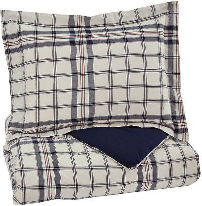 Ashley Q774001T Derick Series 2-Piece Twin Comforter Set, Plaid, Includes Comforter and 1 Sham, Plaid Design in Navy and White, 200 Thread Count, Cotton with Polyester Filling, Machine Washable, Dimensions 69.00