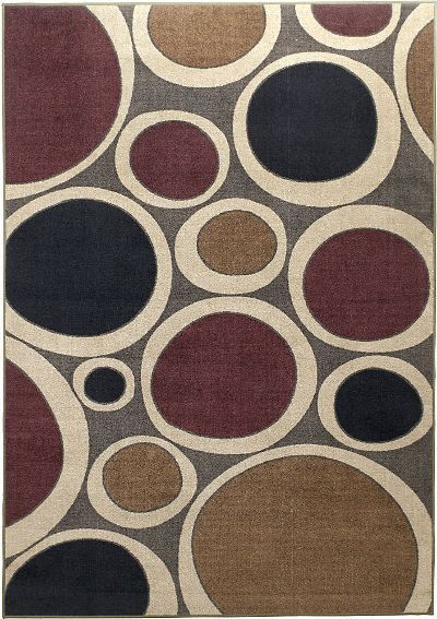 Ashley R139002 Popstar Series Medium Rug, Multi-Colored; Machine-Made in 100% nylon Plum, brown and gray colors; Contemporary Design; Dimensions 52.00