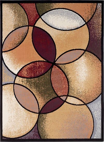 Ashley R184002 Radial Series Medium Rug; Large scale overlapping circle pattern in Brown, Beige, Black, and Gray; Made of 100% Polypropylene; Use of Rug Pad Recommended for This Item; Dry Clean Only; Dimensions 63.00