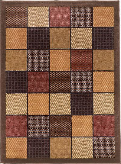 Ashley R191012 Patchwork Series Medium Rug, Brown Color, Machine Made Woven Patchwork Squares Design in Multicolors, Made in Polypropylene, Jute-polyester backing, Contemporary Design, Dry Clean Only, Use of Rug Pad Recommended for This Item, Dimensions 62.00