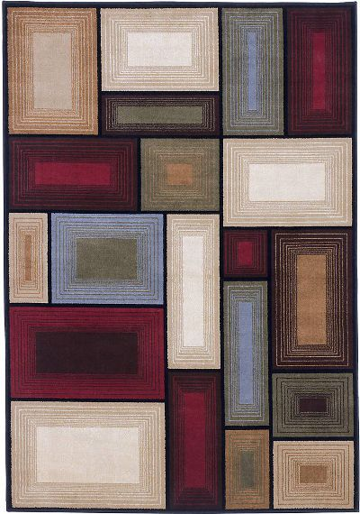 Ashley R215002 Prism Series Medium Rug, Multi-Color, Machine Made Contemporary Square Patterned Design in Multicolors, Made in Olefin, Dry Clean Only, Use of Rug Pad Recommended for This Item, Dimensions 60.00