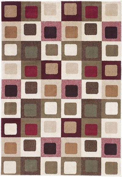 Ashley R217002 Sloane Series Medium Rug, Red Color, Machine Made Geometric Cube Patterned Design in Multicolors, Made in Olefin, Dry Clean Only, Use of Rug Pad Recommended for This Item, Dimensions 60.00