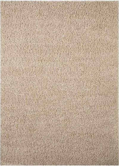 Ashley R240002 Caci Series Medium Rug, Beige Color, Machine Tufted Solid Shag in Beige, Made in Polypropylene, Backed with Jute, Spot Cleaning Only, Use of Rug Pad Recommended for This Item, Dimensions 60.00
