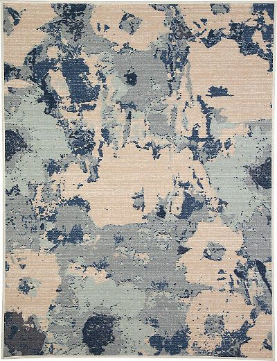 Ashley R266002 Lizette Series Medium Rug, Blue Color, Machine Tufted Abstract Floral Design in Blue and Tan, Made in Nylon, Backed with Cotton Canvas, Pile Height, Spot Clean Only, Use of Rug Pad Recommended for This Item, Dimensions 60.00