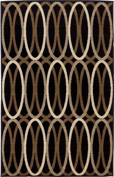 Ashley R268002 Kyle Series Medium Rug; Black and Brown; Machine Woven Contemporary Linked Circle Patterned Design in Black, Tan, and White; Made in Polypropylene; Pile Height; Dry Clean Only; Use of Rug Pad Recommended for This Item; Dimensions 52.00