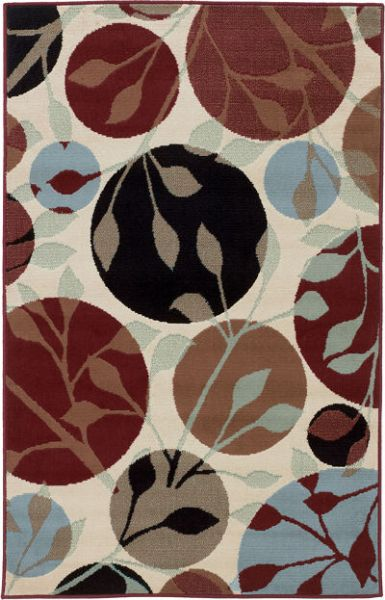 Ashley R270002 Anya Series Medium Rug, Leaf Pattern, Machine Woven Contemporary Circles with Abstract Leaf Pattern Design in Multicolors, Made in Polypropylene, Pile Height, Dry Clean Only, Use of Rug Pad Recommended for This Item, Dimensions 52.00