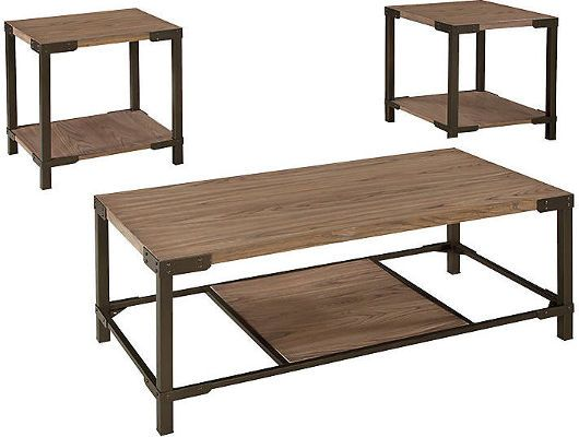 Ashley T209 13 Dexifield Series Three Piece Occasional Table Set, Light  Brown, Made With Tubular Metal In A Bronze Color Finish, Tops Made With Ash  Veneer ...