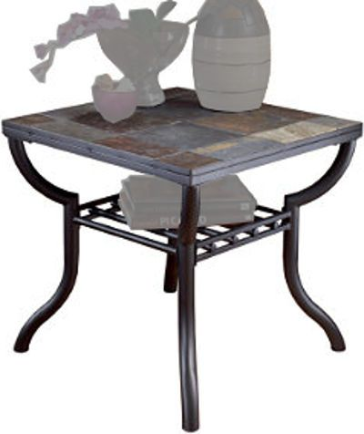 Ashley t233 2 antigo series square end table black finish welded ashley t233 2 antigo series square end table black finish welded metal frames in a baked epoxy gunmetal color finish inserts of natural slate tiles in watchthetrailerfo