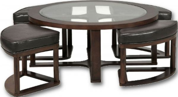 Ashley T Marion Series Cocktail Table With Stools Dark Brown - Cocktail table with 4 stools