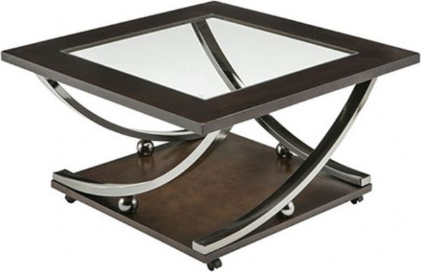 Ashley T628 8 Rollins Series Square Cocktail Table, Tubular Metal Frame Is  Finished In A Black Nickel Color Finish, Top And Shelf In Thick Look Birch  Veneer ...