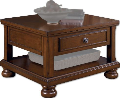 Ashley T697-0 Porter Series Lift Top Cocktail Table, Made with select cherry veneers and hardwood solids, Burnished brown finish, Drawers on select table have a dark bronze color knob and backplate, Dimensions 32.75