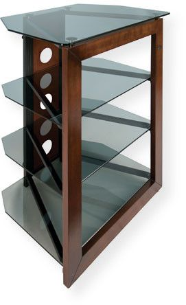 BellO AT306 No Tools Assembly Solid Wood Front Frame Audio and Video Tower; Caramel; Tall design is perfect for bedroom or den; Accommodates most flat panel TVs up to 32