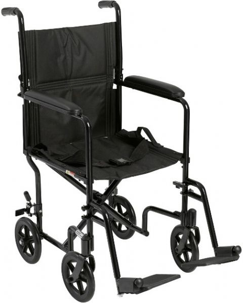 Drive Medical ATC19-BK Lightweight Transport Wheelchair, 19