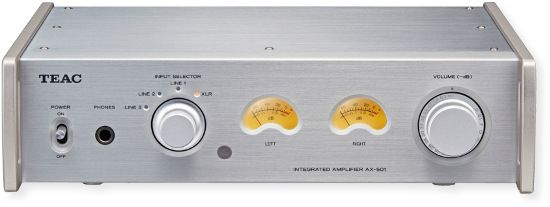 TEAC AX501B Integrated Amplifier; Silver;  A fully balanced approach used for the analog circuits on the pre amplifier; Maximum 120 Watts + 120 Watts of output power for practical use (at 4ohms impedance); Toroidal core Power Transformer; Schottky Barrier diodes for power supply circuits; Full metal body; UPC 043774030347 (AX501S AX501-S AX501SAMPLIFIER AX501S-AMPLIFIER  AX501STEAC AX501S-TEAC)