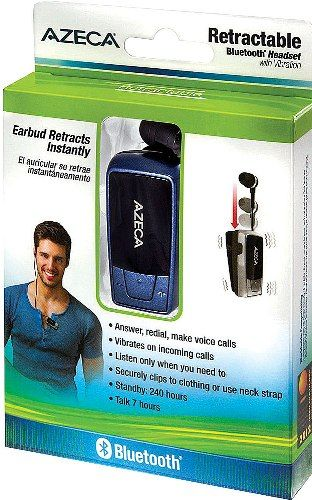 0517a13e10c Azeca AZM04-BL Retractable Bluetooth with Incoming Call Vibration Alert,  Navy Blue; Stop the ear fatigue ...