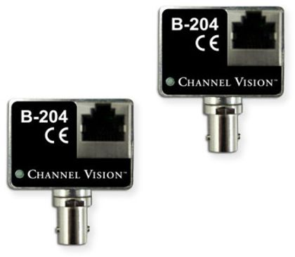 Channel Vision B-204 IP Camera Balun over Coaxial Converter Kit; Black; Perfect solution for updating analog based Security Surveillance systems to IP based systems by using the original coaxial cabling infrastructure; Sends video over 300 Feet over coax cable; UPC 690240026603 (B204 B-204 B-204 IP B-204-IP B-204KIT KIT-B-204BALUN)