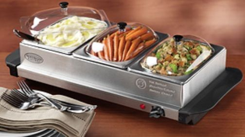 nostalgia electrics bcd332 mini 3 station buffet server warming rh salestores com warming dishes buffet Warming Buffets for Utensils