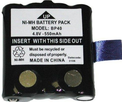 Uniden BP40 Two-way Radio Battery, Proprietary Battery Size, 550 mAh Battery Capacity, Battery Rechargeable, Nickel Metal Hydride NiMH Battery Chemistry, 4.8 V DC Output Voltage, For use with uniden Gmr 2-way Radio Series GMR1038 and GMR1048 (BP40 BP-40 BP 40)