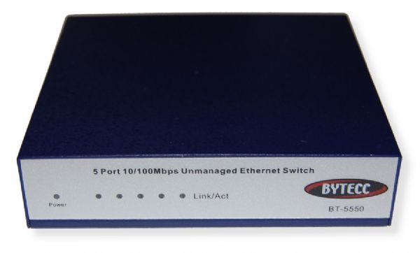 Bytecc BT-5550 Mini Networking Switch Series, 5 Ports; Complies with IEEE 802.3, IEEE 802.3u, IEEE802.3x, IEEE802.3az standards; 5 10/100Mbps Auto-Negotiation RJ45 ports supporting Auto-MDI/MDIX; 1 Uplink port; Supports IEEE802.3x flow control for Full-duplex Mode and backpressure for Half-duplex Mode; UPC 0837281114061 (BT5550 BYTECCBT5550 BYTECC-BT5550 BT/5550)