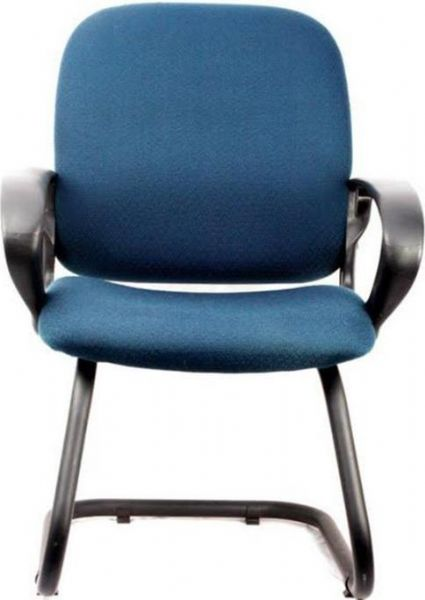Innovex C0165f33 Office Desk Chair Blue Fabric Black Tubular Non Swivel Base Ergonomic Design Easy And Ready To Emble Unit Dimensions 25w X 42h
