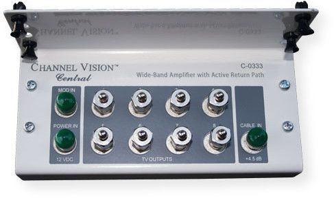 Channel Vision C-0333 8 Output Bi-Directional Amplified Splitter Module; Silver; Snaps directly into a structured wiring enclosure; 8 Amplified outputs: 4.5 deciBels gain; Increases signal strength; Superior low signal to noise ratio; Amplified return path from 5 to 42 Megahertz; Advanced Bandwidth 5 to 1550 Megahertz; UPC 690240025972 (C0333 C-0333 C-0333-SPLITTER C-0333-MODULE SPLITTER-C-0333 SPLITTER-C0333)
