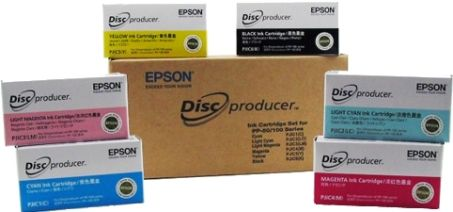 Epson C13S020A9991 Model PJIC-SET Ink Set For use with Epson Discproducer PP-100, PP-100N, PP-50, PP-50BD, PP-100AP and PP-100II Disc Publishers; Includes Six Ink Cartridges: PJIC1-C Cyan, PJIC2-LC Light Cyan, PJIC3-LM Light Magenta, PJIC4-M Magenta, PJIC5-Y Yellow and PJIC6-K Black; One Set of High-capacity Ink Cartridges Prints Over 1000 Discs (C13S020A-9991 C13S020A 9991 PJICSET PJIC SET)