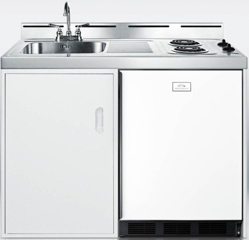 "Kitchenette Sink Cabinet: Summit C48EL Wide 48"" All-In-One Kitchenette With Two Coil"