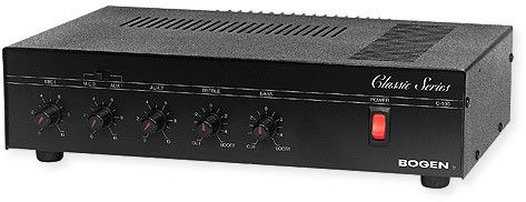 Bogen C60 Classic Series Amplifier; Black; 60 Watt output power, respectively; Transformer isolated 4 Ohm, 8 Ohm, 16 Ohm, 25 Volt and 70 Volt output taps; Rear panel auxiliary receptacle; One dedicated MIC 1 input Lo Z balanced; One switchable MIC 2 or AUX 1 input; Contact muting of AUX input; UPC 765368330410 (C60 C-60 BOGENC60 BOGEN-C60 AMPLIFIERC60 BOGENC60-AMPLIFIER)